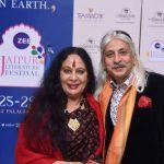 New Delhi: Odissi dancer Sonal Mansingh with Jaipur Literature Festival Producer Sanjoy Roy at Delhi preview of Jaipur Literature Festival in New Delhi on Dec 12, 2017. (Photo: IANS) by .