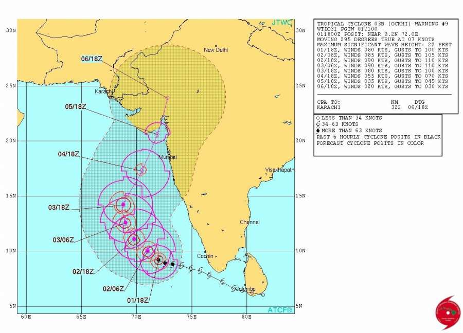 Predicted path of Cyclone Ockhi. (Image Courtesy: Indian Navy) by .