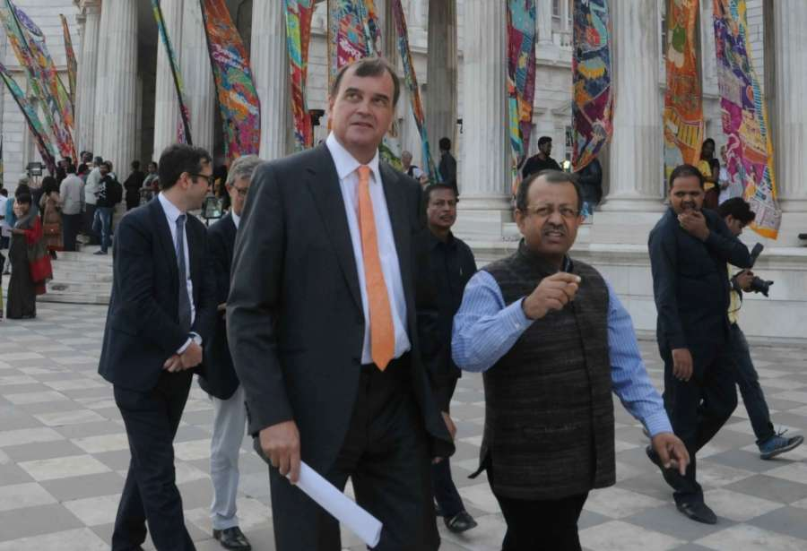 Kolkata: British High Commissioner to India Dominic Asquith with Victoria Memorial Hall curator Jayanta Sengupta during the closing ceremony of Silk River India Walk 2017 at Victoria Memorial in Kolkata on Dec 16, 2017. (Photo: IANS) by .
