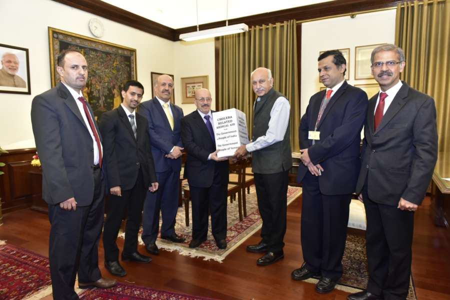 New Delhi: Union MoS External Affairs M.J. Akbar during the Medicine Handing Over Ceremony to the Government of People of Yemen, in New Delhi on Dec 27, 2017. (Photo: IANS/MEA) by .