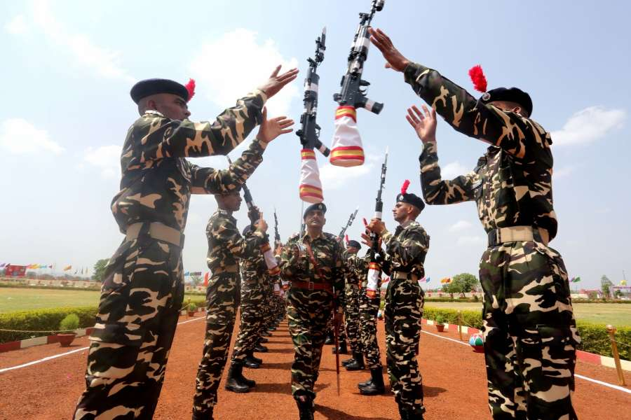 Bhopal: Sashastra Seema Bal (SSB) recruits during their passing out parade at Chandukhedi near Bhopal on June 13, 2016. (Photo: IANS) by .