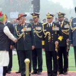 New Delhi: Prime Minister Narendra Modi being received by Arrmy Chief General Bipin Rawat, Chief of Naval Staff Admiral Sunil Lanba and Chief of Air Staff Air Chief Marshal Birender Singh Dhanoa on his arrival at the venue of Republic Day Parade 2018 on Rajpath in New Delhi on Jan 26, 2018. (Photo: IANS/PIB) by .