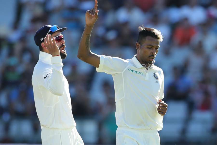 Cape Town: Hardik Pandya of India celebrates fall of Dean Elgar's wicket during day two of the first Test match between South Africa and India at the Newlands Cricket Ground in Cape Town, South Africa. (Photo: BCCI/IANS) (Credit Mandatory) by .