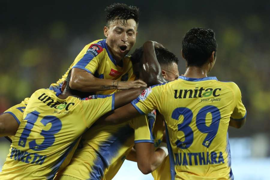 Kochi: Kerala Blasters FC players celebrate their first goal in ISL-4 during their an ISL match against Mumbai City FC at the Jawaharlal Nehru Stadium in Kochi. (Photo: IANS) by .
