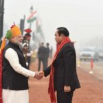 New Delhi: Prime Minister Narendra Modi greets Prime Minister of Thailand Prayut Chan-o-cha on his arrival at the venue of Republic Day Parade 2018 on Rajpath in New Delhi on Jan 26, 2018. (Photo: IANS/PIB) by .