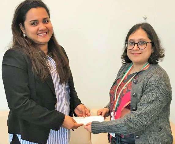 Paulomi Tripathi, right, a first secretary in the Indian Mission to the United Nations hands over a contribution of $50,000 to Jayathma Wickramanayake, left, the Youth Envoy of Secretary-General Antonio Guterres on Friday, January 12, 2018. It was India's voluntary contribution to the Office of the Secretary-General's Envoy on Youth. by .