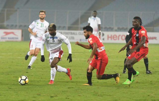 Kolkata: Players in action during an I -League match between Mohun Bagan A.C. and Minerva Punjab FC at Salt Lake Stadium in Kolkata. (Photo: Kuntal Chakrabarty/IANS) by .