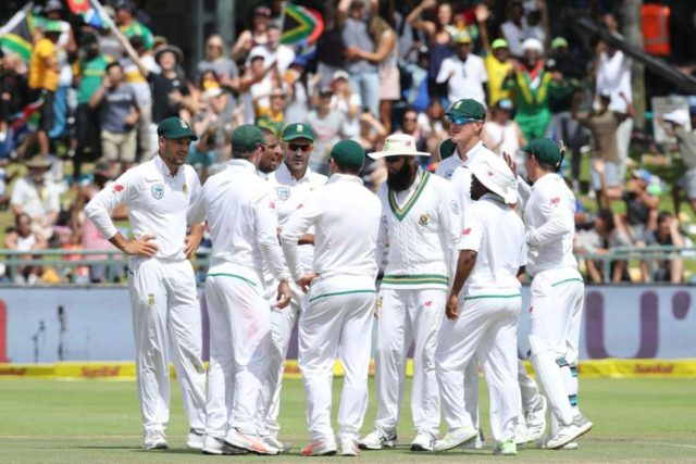 Cape Town: Cape Town: South African's celebrate fall of a wicket during day four of the first Test match between South Africa and India at the Newlands Cricket Ground in Cape Town, South Africa. (Photo: BCCI/IANS) (Credit Mandatory) by .