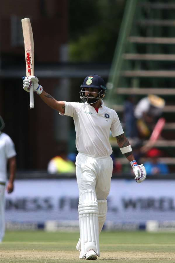 Johannesburg: Indian skipper Virat Kohli celebrates his half century during Day 1 of the third Test match between South Africa and India at the Wanderers Stadium in Johannesburg, South Africa. (Photo: BCCI/IANS) (Credit Mandatory) by .