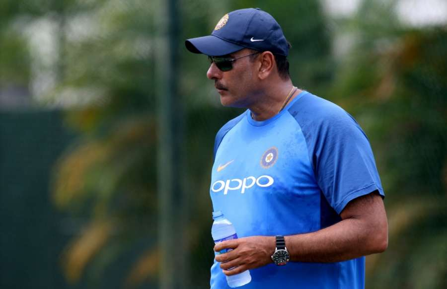 Colombo: Indian cricket team head coach Ravi Shastri during a practice session at the Sinhalease Sports Club (SSC) Ground in Colombo. (Photo: Surjeet Yadav/IANS) by .
