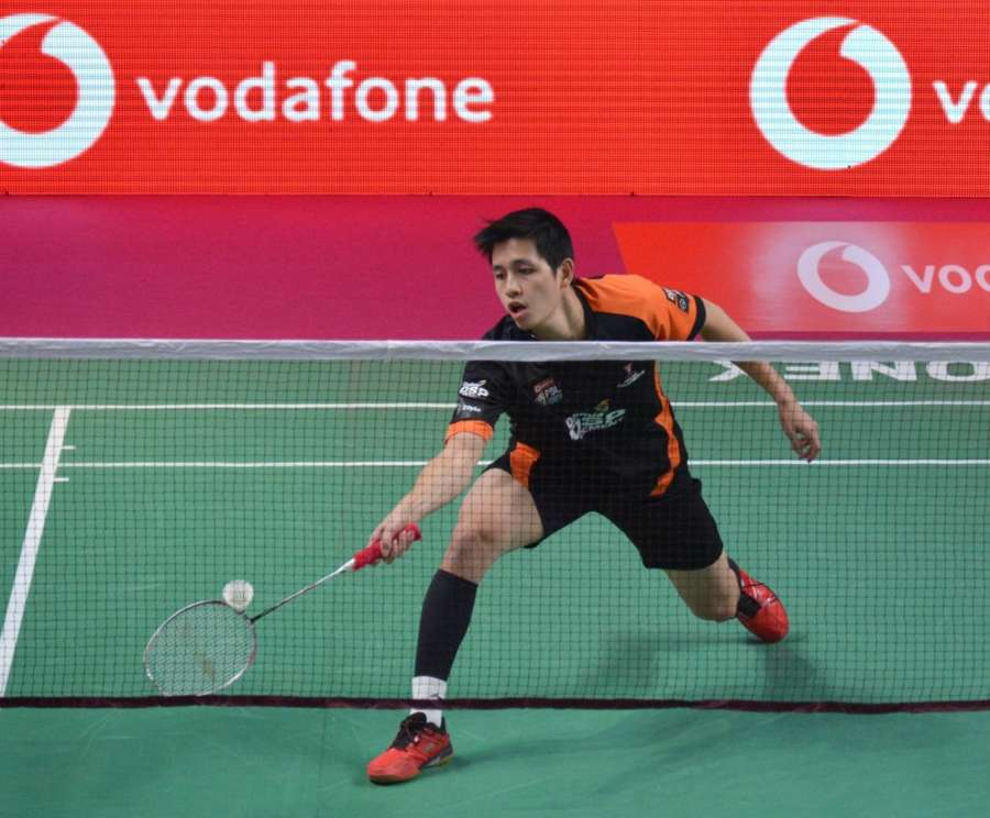 Lucknow: Wing Ki Wong Vincent of Delhi Dashers in action against B.Leverdez of Chennai Smashers during a Premier Badminton League match in Lucknow. (Photo: IANS) by .