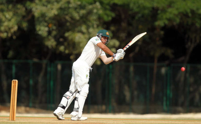 Australian cricketers Ed Cowan and Usman Khawaja during first day of two day practice match against Board President's XI in Chennai. (Photo: SaiSen/IANS) by .