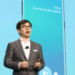 Las Vegas: Kim Hyun-suk, head of the consumer electronics division at Samsung Elecronics Co., speaks during a press conference at a convention center in Las Vegas on Jan. 8, 2018, one day before the opening of the 2018 Consumer Electronics Show. (Yonhap/IANS) by .