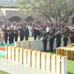 New Delhi: President Ram Nath Kovind pays tribute on death anniversary of Mahatma Gandhi at the samadhi of Mahatma Gandhi in Rajghat, New Delhi on Jan. 30, 2018. (Photo: Amlan Paliwal/IANS) by .