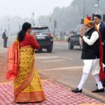 New Delhi: Prime Minister Narendra Modi being received by Defence Minister Nirmala Sitharaman on his arrival at the venue of Republic Day Parade 2018 on Rajpath in New Delhi on Jan 26, 2018. (Photo: IANS/PIB) by .