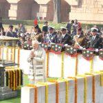New Delhi: Prime Minister Narendra Modi pays tribute to Mahatma Gandhi on his death anniversary in Rajghat, New Delhi on Jan. 30, 2018. (Photo: Amlan Paliwal/IANS) by .