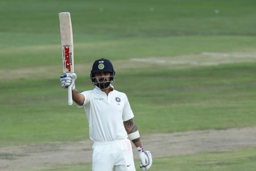 Centurion: Indian captain Virat Kohli celebrates his half century during the second day of the second Test match between South Africa and India at the Supersport park Cricket Ground in Centurion, South Africa. (Photo: IANS/BCCI) (Credit Mandatory) by .