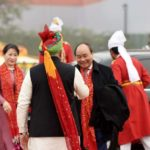 New Delhi: Prime Minister Narendra Modi greets Prime Minister Vietnam Nguyen Xuan Phuc on his arrival at the venue of Republic Day Parade 2018 on Rajpath in New Delhi on Jan 26, 2018. (Photo: IANS/PIB) by .
