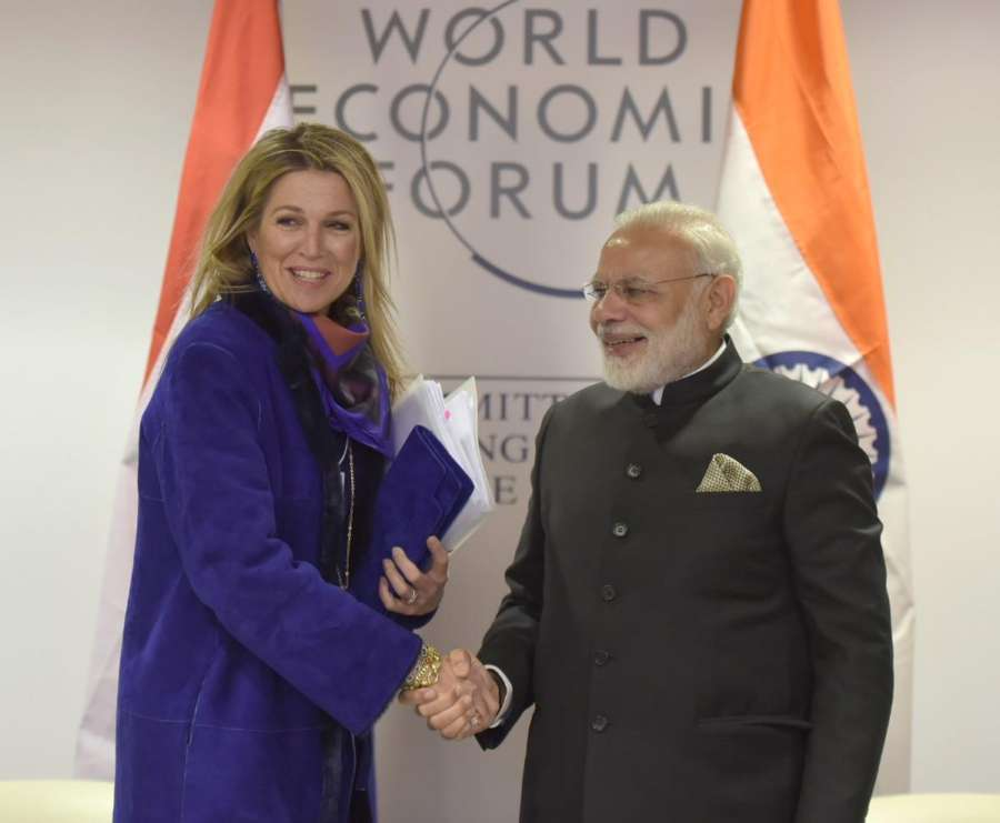 Davos: Prime Minister Narendra Modi meets Netherlands' Queen Maxima in Davos, Switzerland on Jan 23, 2018. (Photo: IANS/PIB) by .