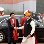 New Delhi: Prime Minister Narendra Modi greets Prime Minister of Laos Thongloun Sisoulith on his arrival at the venue of Republic Day Parade 2018 on Rajpath in New Delhi on Jan 26, 2018. (Photo: IANS/PIB) by .