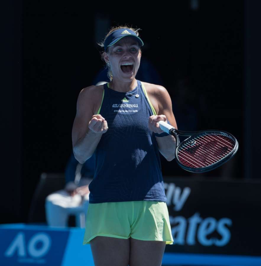 MELBOURNE (Xinhua) -- Angelique Kerber of Germany celebrates after the women's singles fourth round match against Hsieh Su-wei of Chinese Taipei at Australian Open 2018 in Melbourne, Australia. Kerber won 2-1. (Xinhua/Zhu Hongye/IANS) by .