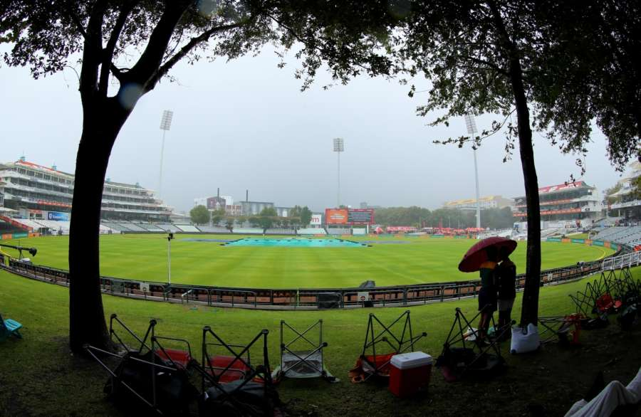Cape Town: The rain continues to fall in Cape Town during day three of the first Test match between South Africa and India at the Newlands Cricket Ground in Cape Town, South Africa. (Photo: BCCI/IANS) (Credit Mandatory) by .