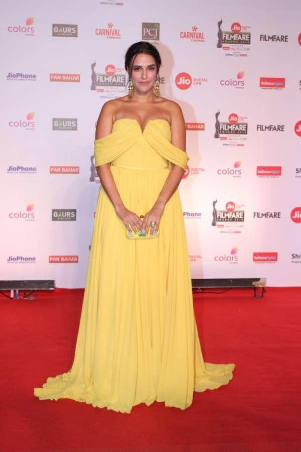 "Mumbai: Actress Neha Dhupia at the red carpet of ""63rd Jio Filmfare Awards"" in Mumbai on Jan 20, 2018.(Photo: IANS) by ."