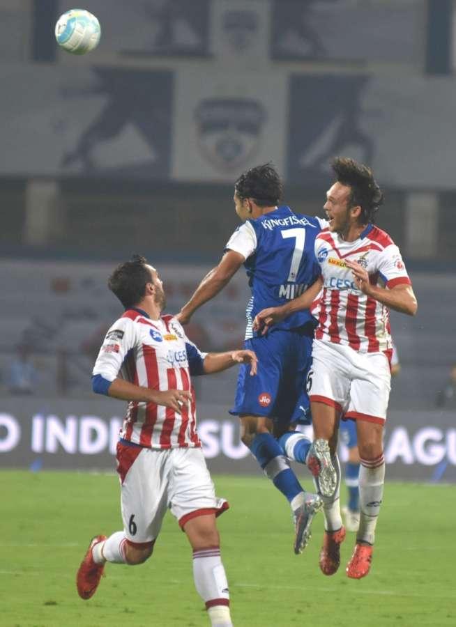 Bengaluru: Players in action during an ISL match between Bengaluru FC and ATK at Sree Kanteerava Stadium in Bengaluru. (Photo: IANS) by .