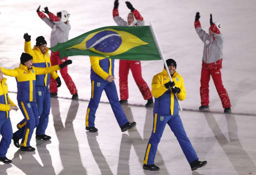 PYEONGCHANG, Feb. 9, 2018 (Xinhua) -- Delegation of Brazil enter the stadium during the opening ceremony of the 2018 PyeongChang Winter Olympic Games held at PyeongChang Olympic Stadium, South Korea, Feb. 9, 2018. (Xinhua/Fei Maohua/IANS) by .