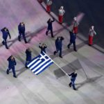 PYEONGCHANG, Feb. 9, 2018 (Xinhua) -- Delegation of Greece enter the stadium during the opening ceremony of the 2018 PyeongChang Winter Olympic Games held at PyeongChang Olympic Stadium, South Korea, Feb. 9, 2018. (Xinhua/Ding Xu/IANS) by .