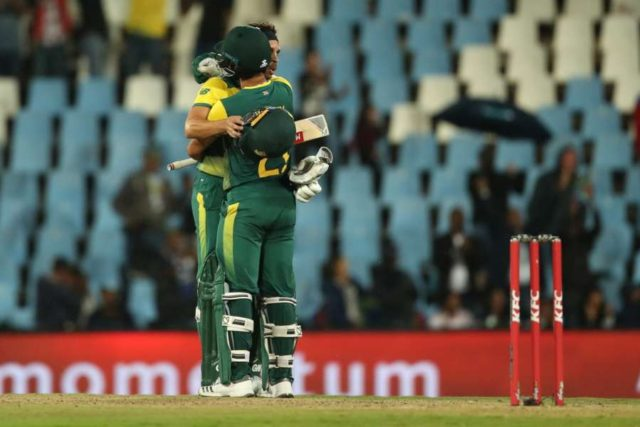 Centurion: Ferhaan Behardien and JP Duminy of South Africa celebrate after winning the 2nd T20I between South Africa and India at SuperSport Park in Centurion, South Africa on Feb 21, 2018. (Photo: BCCI/IANS) (Credit Mandatory) by .
