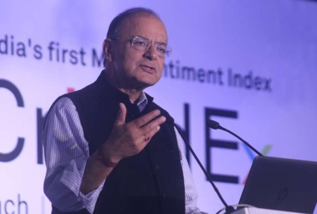 New Delhi: Union Finance Minister Arun Jaitley addresses during the launch of India's first sentiment index - CriSidEx, in New Delhi on Feb 3, 2018. (Photo: IANS) by .