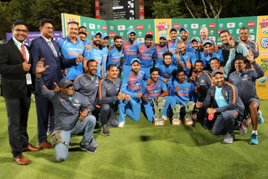 Cape Town: Team India pose with the trophy after winning the T20I series 3-1 against South Africa during post match presentation ceremony at the Newlands Cricket Ground in Cape Town, South Africa on Feb 24, 2018. (Photo: BCCI/IANS) (Credit Mandatory) by .