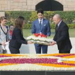 New Delhi: Canadian Prime Minister Justin Trudeau lays wreath at the Samadhi of Mahatma Gandhi, at Rajghat, in Delhi on Feb 23, 2018. (Photo: IANS/PIB) by .