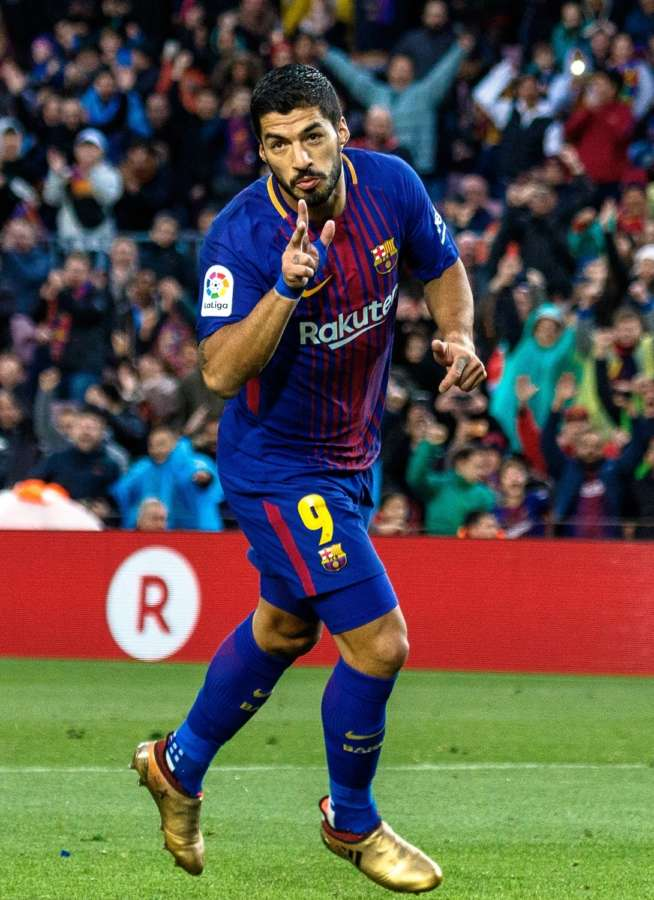 Barcelona, Jan. 8, (Xinhua) -- FC Barcelona's Luis Suarez celebrates scoring during a Spanish La Liga soccer match between FC Barcelona and Levante UD in Barcelona, Spain, on Jan. 7, 2018. Barcelona won 3-0. (Xinhua/Joan Gosa/IANS) by .