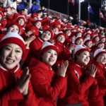 PYEONGCHANG, Feb. 9, 2018 (Xinhua) -- Cheerleaders from the Democratic People's Republic of Korea (DPRK) react ahead of the opening ceremony of the 2018 PyeongChang Winter Olympic Games at PyeongChang Olympic Stadium in PyeongChang, South Korea, Feb. 9, 2018. (Xinhua/Bai Xuefei/IANS) by .