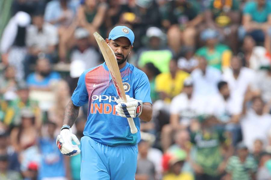 Johannesburg: Shikhar Dhawan of India celebrates his half century during the 1st T20 International match between South Africa and India at the Wanderers Stadium in Johannesburg, South Africa on Feb 18, 2018. (Photo: BCCI/IANS) (Credit Mandatory) by .