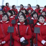PYEONGCHANG, Feb. 9, 2018 (Xinhua) -- Cheerleaders from the Democratic People's Republic of Korea (DPRK) are seated ahead of the opening ceremony of the 2018 PyeongChang Winter Olympic Games at PyeongChang Olympic Stadium in PyeongChang, South Korea, Feb. 9, 2018. (Xinhua/Bai Xuefei/IANS) by .