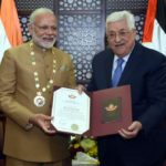 Ramallah: In a special recognition of the Prime Minister Narendra Modi's contribution to relations between India and Palestine, Palestine President Mahmoud Abbas conferred the Grand Collar of the State of Palestine on him after the conclusion of their bilateral meeting in Ramallah, Palestine on Feb 10, 2018. (Photo: IANS/PIB) by .