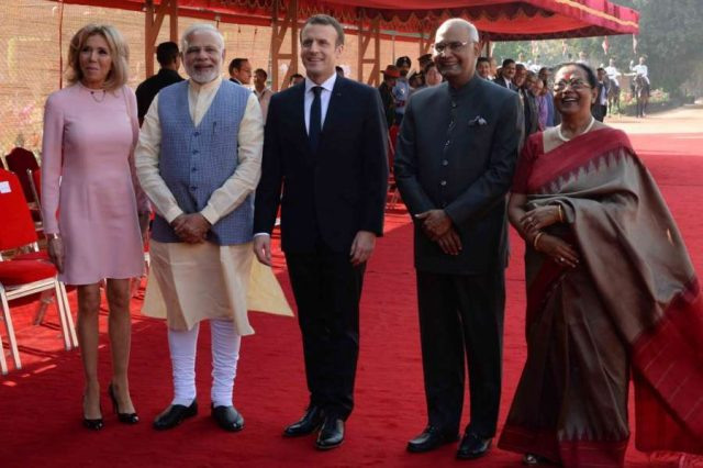 New Delhi: President Ram Nath Kovind, with his wife Savita Kovind, Prime Minister Narendra Modi receives Emmanuel Macron, President of France and First Lady Brigitte Macron during his ceremonial reception at forecourt in Rashtrapati Bhavan on March 10, 2018. (Photo: IANS/RB) by .
