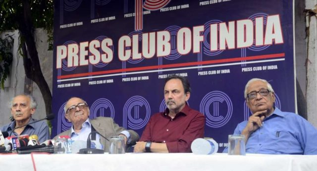 New Delhi: Veteran journalist and former union minister Arun Shourie, Fali Sam Nariman, NDTV co-founder Prannoy Roy and HK Dua during a protest meet organised at the Press Club of India following CBI searches at Roy's houses; in New Delhi, on June 9, 2017. (Photo: IANS) by .