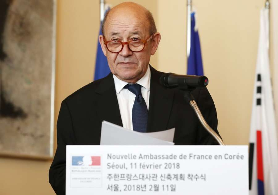 Seoul: French Foreign Minister Jean-Yves Le Drian speaks during a ceremony at the French Embassy in Seoul on Feb. 11, 2018, to mark the launch of a project to modernize the embassy building, scheduled to be completed by the end of next year. (Yonhap/IANS) by .