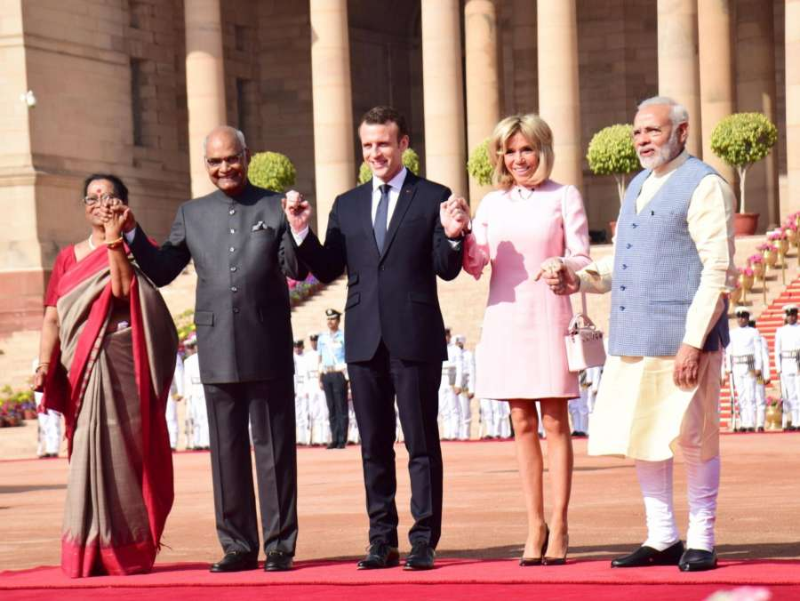 New Delhi: President Ram Nath Kovind, with his wife Savita Kovind, Prime Minister Narendra Modi receives Emmanuel Macron, President of France and First Lady Brigitte Macron during his ceremonial reception at forecourt in Rashtrapati Bhavan on March 10, 2018. (Photo: IANS) by .
