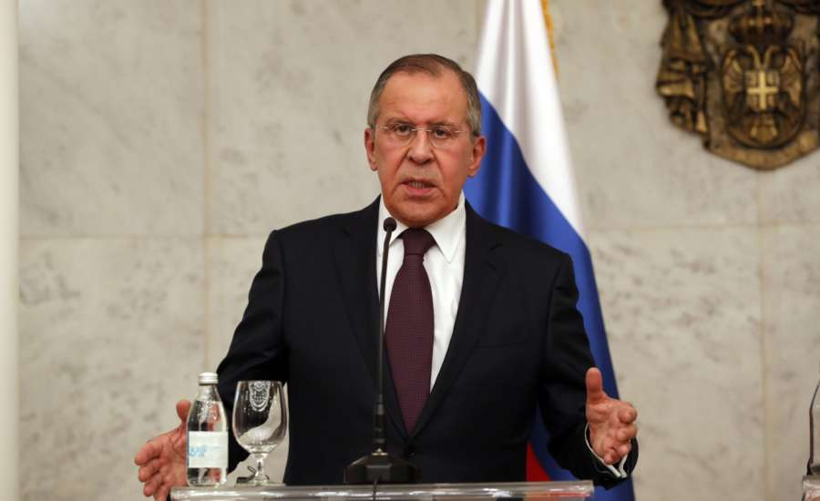 BELGRADE, Feb. 21, 2017 (Xinhua) -- Visiting Russian Foreign Minister Sergey Lavrov speaks at a joint press conference with Serbian President Aleksandar Vucic (not in the picture) in Belgrade, Serbia, on Feb. 21, 2018. The European Union (EU) will have to understand Serbia's relations with Russia, if it wishes to see it as its future member, Serbian President Aleksandar Vucic said after meeting visiting Russian Foreign Minister Sergey Lavrov on Wednesday in Belgrade. (Xinhua/Predrag Milosavljevic/IANS) by .