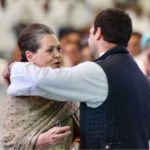 New Delhi: Congress President Rahul Gandhi shares a warm moment with her mother UPA Chairperson Sonia Gandhi during the 84th plenary session of Indian National Congress at Indira Gandhi Indoor Stadium in New Delhi on March 17, 2018. (Photo: IANS/Twitter/@INCIndia) by .