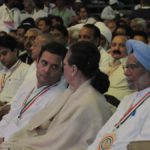 New Delhi: Congress leaders Rahul Gandhi, Sonia Gandhi and Manmohan Singh during the 84th plenary session of Indian National Congress at the Indira Gandhi Indoor Stadium in New Delhi on March 17, 2018. (Photo: IANS) by .