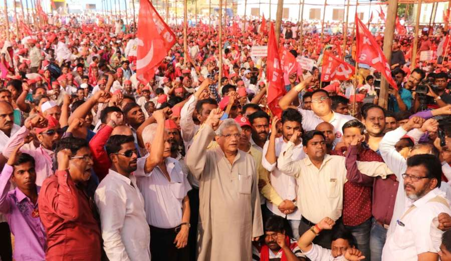 Mumbai: CPI-M General Secretary Sitaram Yechury joins farmers staging a demonstration at Azad Maidan in Mumbai, on March 12, 2018. The farmers, tribals and labourers, under the banner of All India Kisan Sabha, the farmers wing of the Communist Party of India (M), had marched nearly 200 km since March 6 and reached Mumbai late on Sunday, and to Azad Maidan at dawn on Monday. (Photo: Sandeep Mahankal/IANS) by .