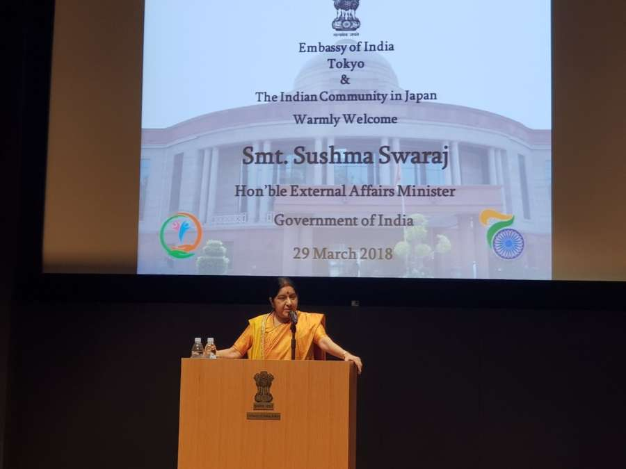 Tokyo: External Affairs Minister Sushma Swaraj addresses the Indian Community in Japan, in Tokyo on March 29, 2018. (Photo: IANS/MEA) by .