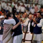 New Delhi: Congress President Rahul Gandhi shares a warm moment with her mother UPA Chairperson Sonia Gandhi during the 84th plenary session of Indian National Congress at Indira Gandhi Indoor Stadium in New Delhi on March 17, 2018. (Photo: IANS) by .