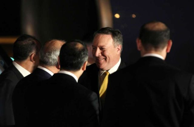 AMMAN, April 29, 2018 (Xinhua) -- U.S. Secretary of State Mike Pompeo (2nd R) arrives at the Queen Alia International Airport in Amman, Jordan, April 29, 2018. The newly-appointed U.S. Secretary of State Mike Pompeo on Sunday arrived in Jordan for a two-day visit as part of a Middle East tour that also covers Saudi Arabia and Israel. (Xinhua/Mohammad Abu Ghosh/IANS) by .